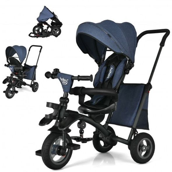 7-In-1 Baby Folding Tricycle Stroller with Rotatable Seat-Blue