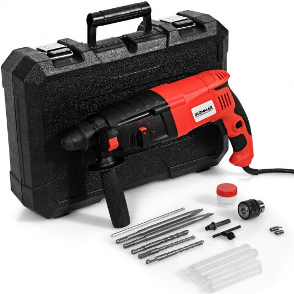 """1/2"""" Electric Rotary Hammer Drill with Bits & Case"""