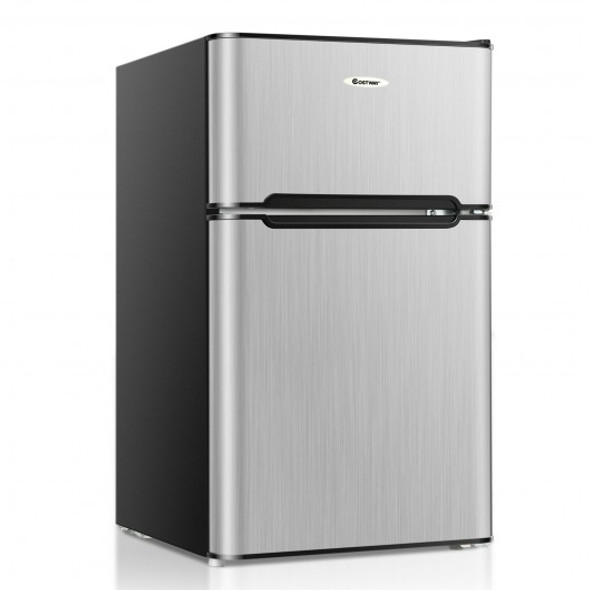 3.3 Cubic Feet Compact Refrigerator with Freezer 2 Reversible Door Mini Fridge-Silver