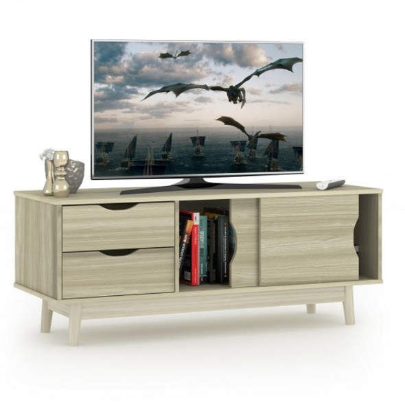 """TV Stand for TV up to 60"""" Media Console Table Storage with Doors-Gray"""