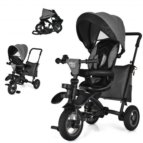 7-In-1 Baby Folding Tricycle Stroller with Rotatable Seat-Gray