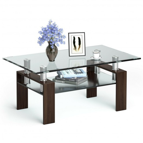 Rectangle Glass Coffee Table with Metal Legs for Living Room-Coffee