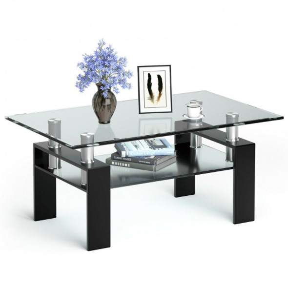 Rectangle Glass Coffee Table with Metal Legs for Living Room-Black