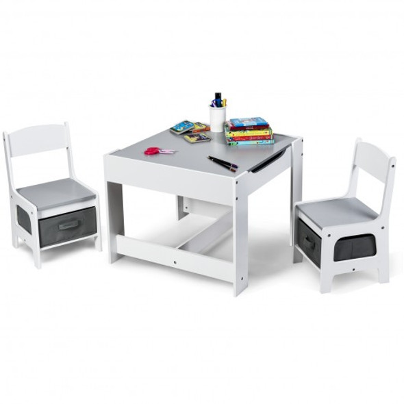 Kids Table Chairs Set With Storage Boxes Blackboard Whiteboard Drawing-White