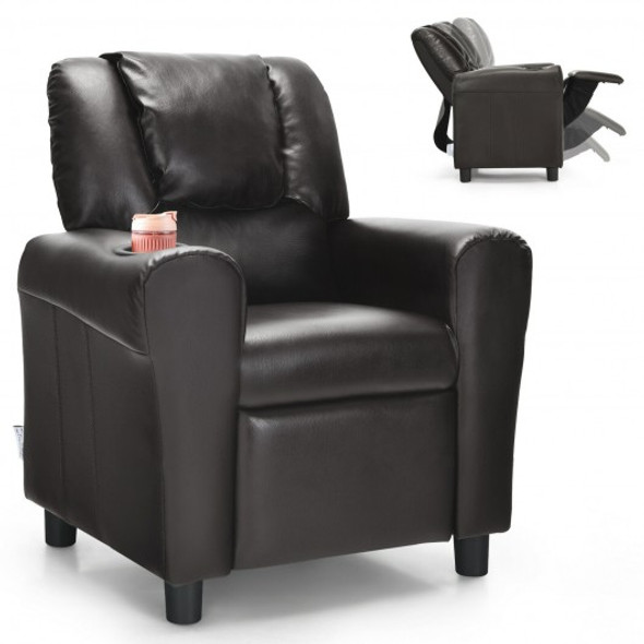 Children PU Leather Recliner Chair with Front Footrest-Brown