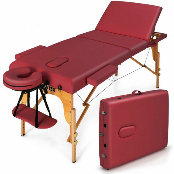 """3 Fold 84"""" L Portable Adjustable Massage Table with Carry Case-Red"""