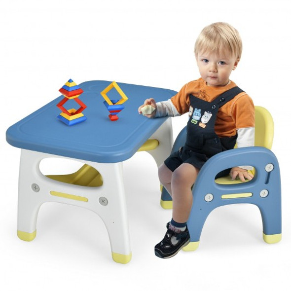 Kids Activity Table and Chair Set with Montessori Toys for Preschool and Kindergarten-Blue