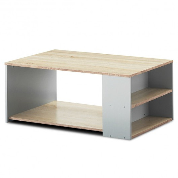 Coffee Table Sofa Side Table with Storage Shelves -Natural