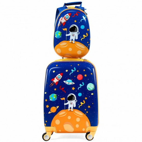 2PC Kids Luggage Set Rolling Suitcase & Backpack-Navy - COBG51209