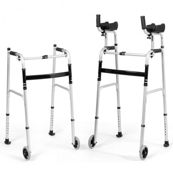 Folding Height Adjustable Walking Frame with Armrest Support