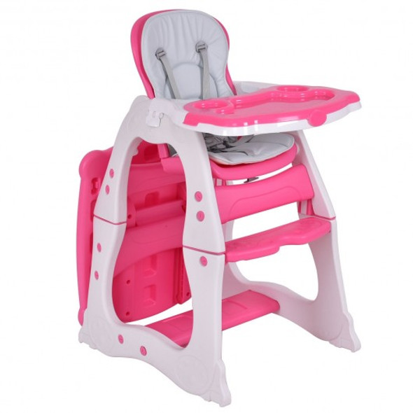 3 in 1 Infant Table and Chair Set Baby High Chair-Red