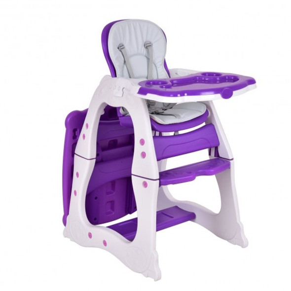 3 in 1 Infant Table and Chair Set Baby High Chair-Purple