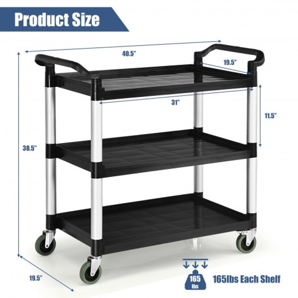 3-Shelf Utility Service Cart Aluminum Frame 490lbs Capacity with Casters