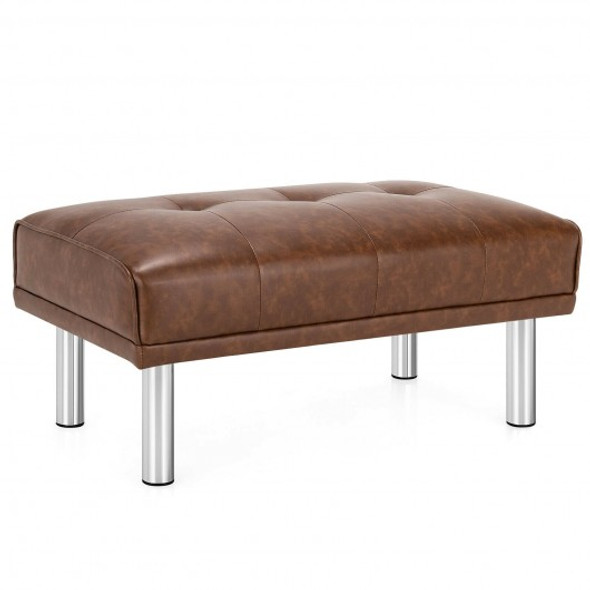 Ottoman Footrest Stool PU Leather Seat with Metal Legs-Brown