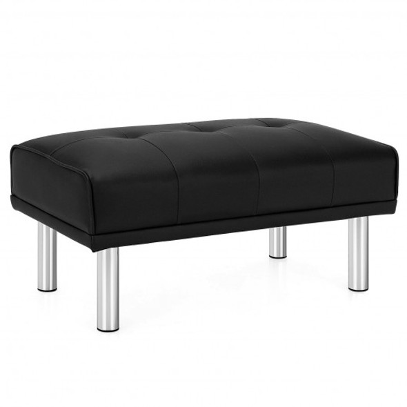 Ottoman Footrest Stool PU Leather Seat with Metal Legs-Black