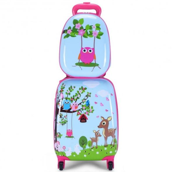 "2 pcs 12"" 16"" Blue ABS Kids Suitcase Backpack Luggage Set"