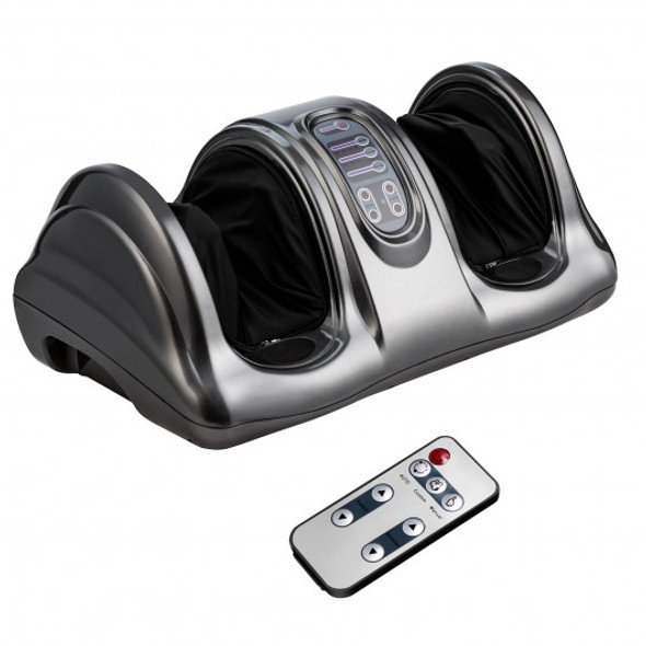 Therapeutic Shiatsu Foot Massager Kneading and Rolling with  High Intensity Rollers-Gray