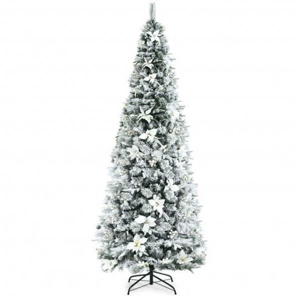 8 Feet Snow Flocked Christmas Pencil Tree with Berries and Poinsettia Flowers