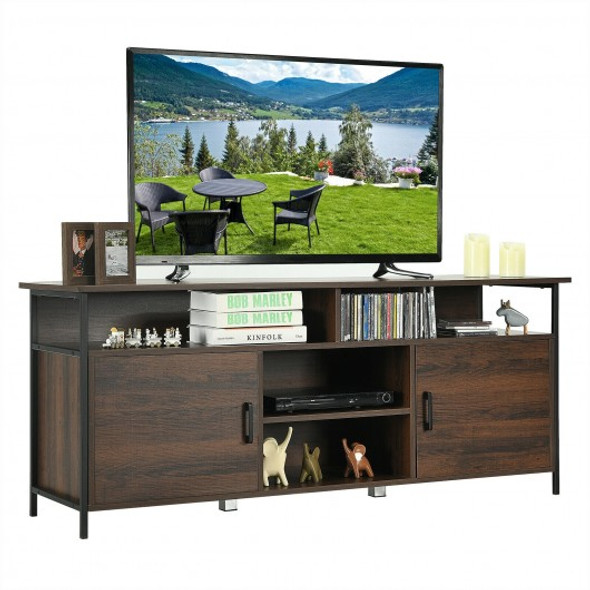 """58"""" Wood TV Stand Entertainment Media Center Console with Storage Cabinet"""