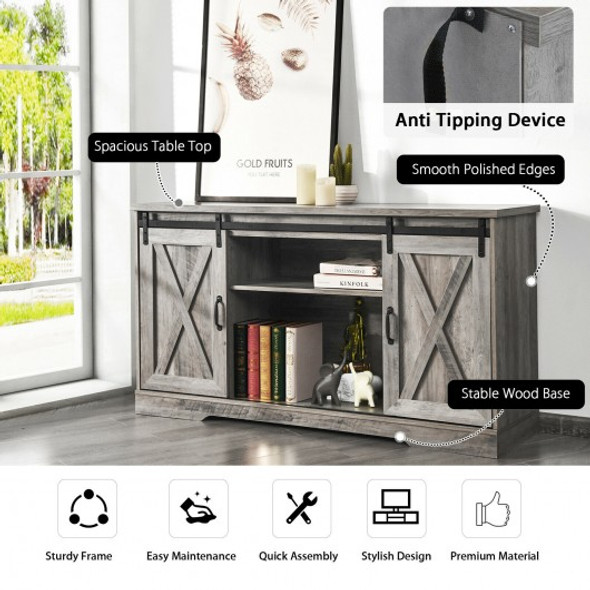 """59"""" TV Stand with Adjustable Shelf and Sliding Barn Door Cabinet-Gray"""