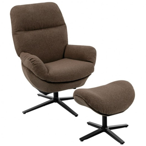 Modern Swivel Rocking Chair and Ottoman Set with Aluminum Alloy Base-Coffee