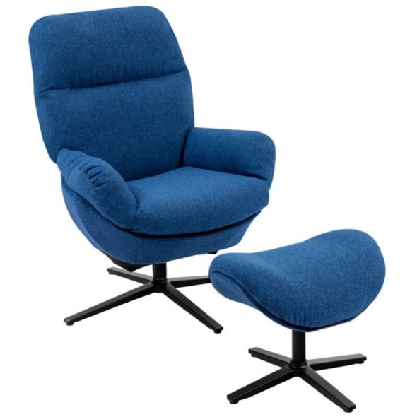 Modern Swivel Rocking Chair and Ottoman Set with Aluminum Alloy Base-Blue