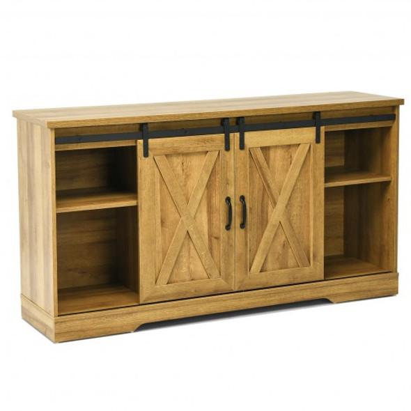 "59"" TV Stand with Adjustable Shelf and Sliding Barn Door Cabinet-Golden"