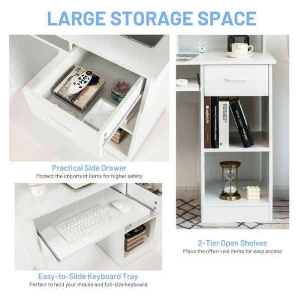 Modern Executive Desk Writing Table with 2-Tier Storage Shelves-White