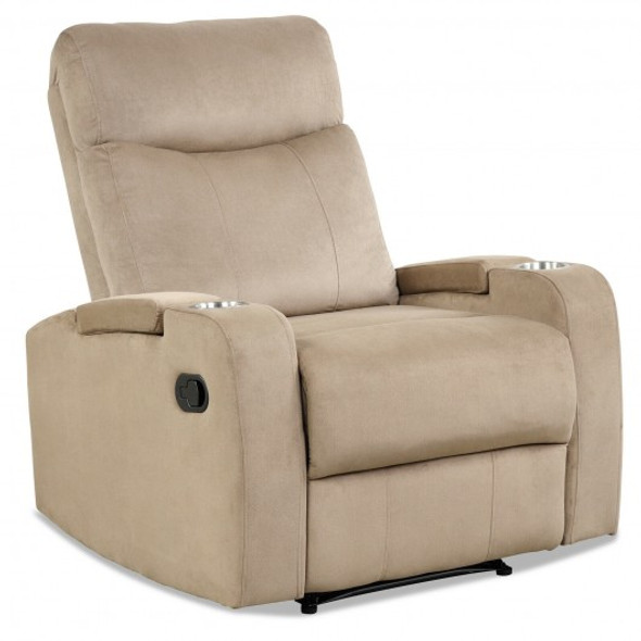 Recliner Chair Single Sofa Lounger with Arm Storage and Cup Holder for Living Room-Brown