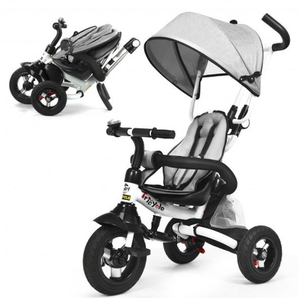 6-In-1 Kids Baby Stroller Tricycle Detachable Learning Toy Bike-Gray
