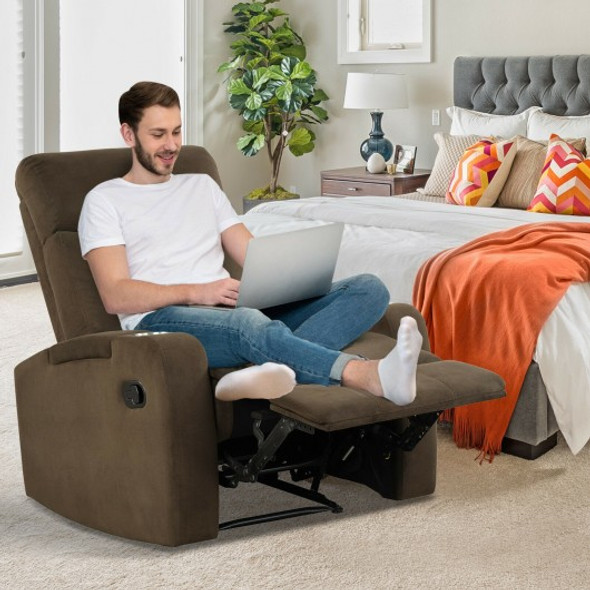 Recliner Chair Single Sofa Lounger with Arm Storage and Cup Holder for Living Room-Coffee