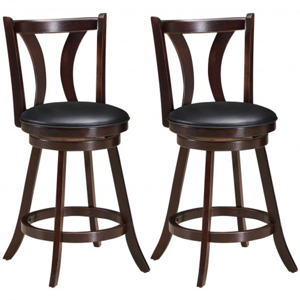 """Set of 2 Swivel Bar stool 24"""" Counter Height Leather Padded Dining Kitchen Chair-24"""""""