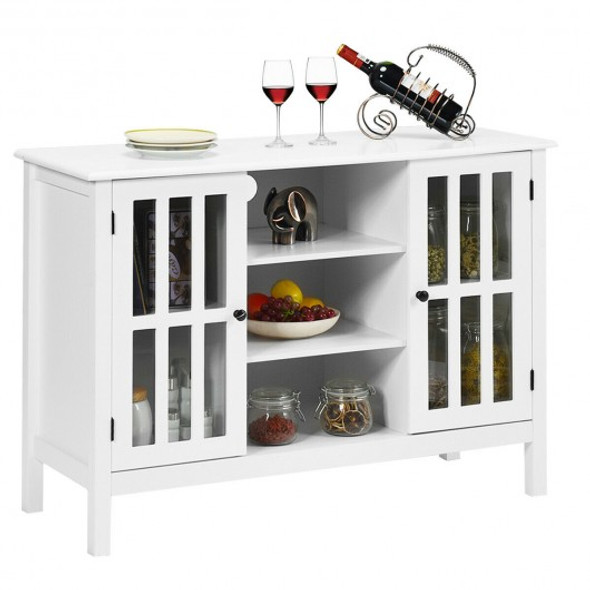 """Wood TV Stand Console Cabinet for 50"""" TV-White"""
