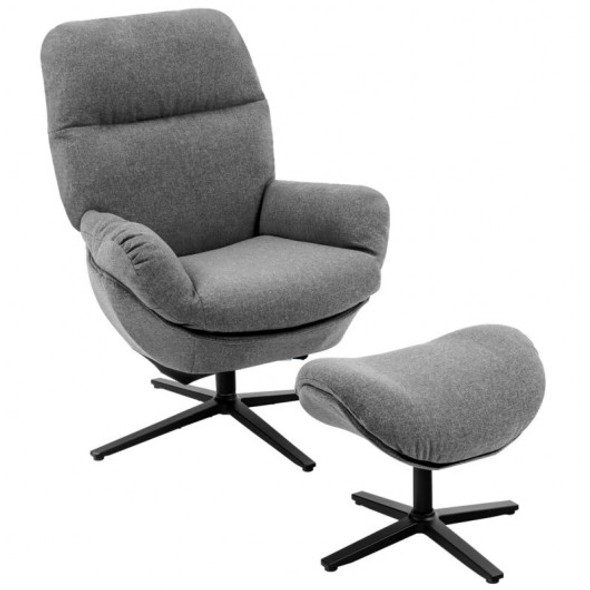 Modern Swivel Rocking Chair and Ottoman Set with Aluminum Alloy Base-Gray