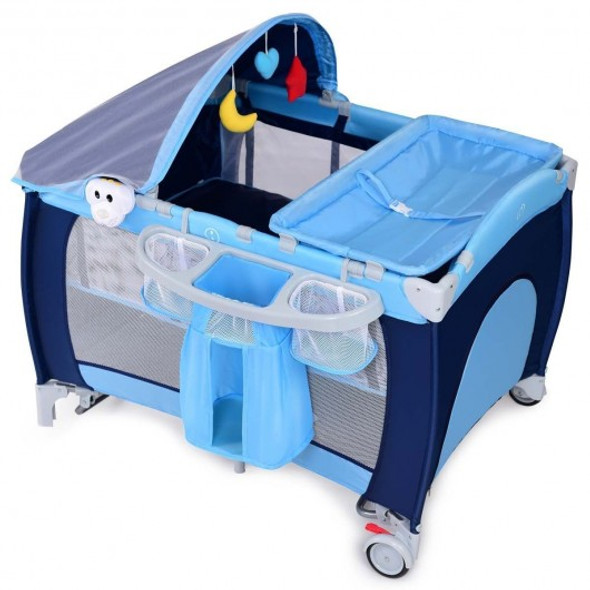 Foldable Baby Crib Playpen w/ Mosquito Net and Bag-Blue