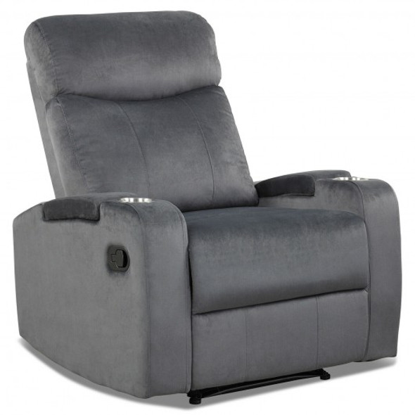 Recliner Chair Single Sofa Lounger with Arm Storage and Cup Holder for Living Room-Gray
