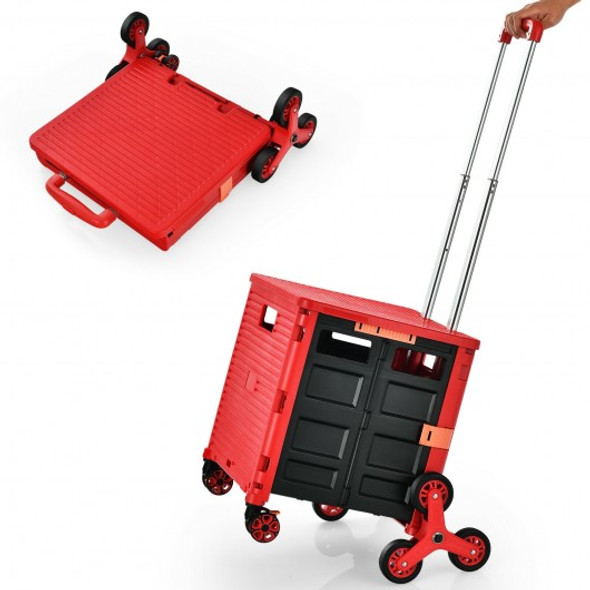 Costway Foldable Utility Cart for Travel and Shopping-Red