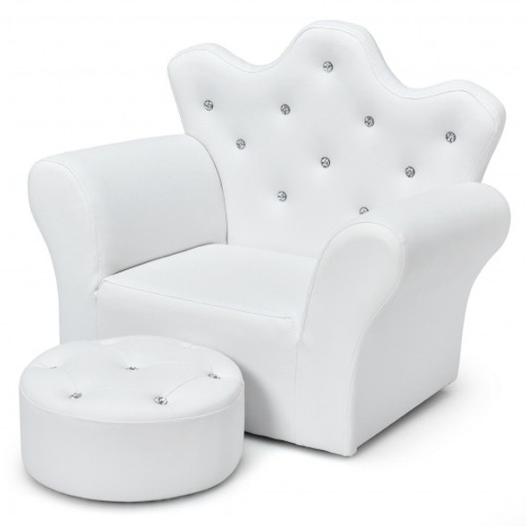 Children Upholstered Princess Sofa with Ottoman and Diamond Decoration for Boys and Girls-White