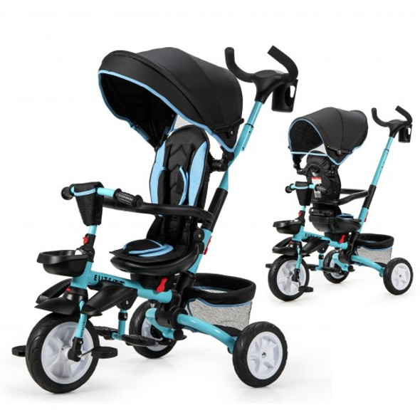 6-in-1 Detachable Kids Baby Stroller Tricycle with Canopy and Safety Harness-Blue