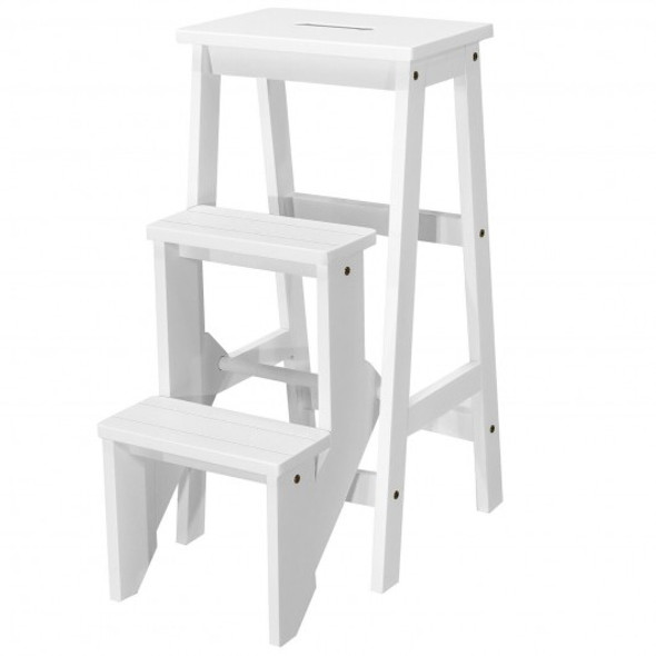 3 Tier Step Stool 3 in 1 Folding Ladder Bench-White