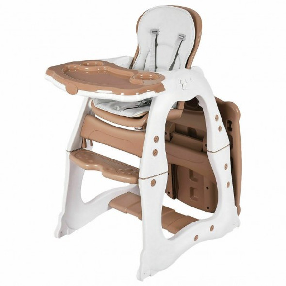 3 in 1 Infant Table and Chair Set Baby High Chair-Brown
