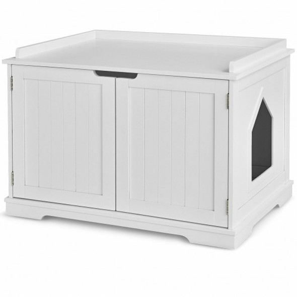 Cat Litter Box Wooden Enclosure Pet House Sidetable Washroom-White