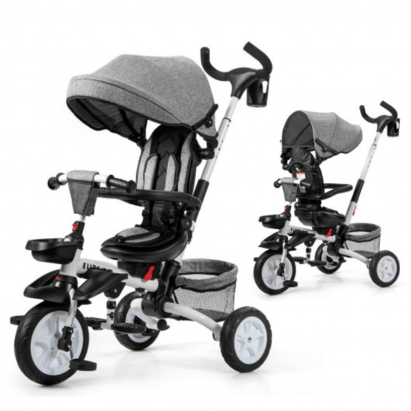6-in-1 Detachable Kids Baby Stroller Tricycle with Canopy and Safety Harness-Gray