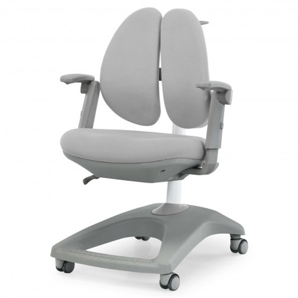 Kids Adjustable Height Depth Study Desk Chair with Sit-Brake Casters-Gray