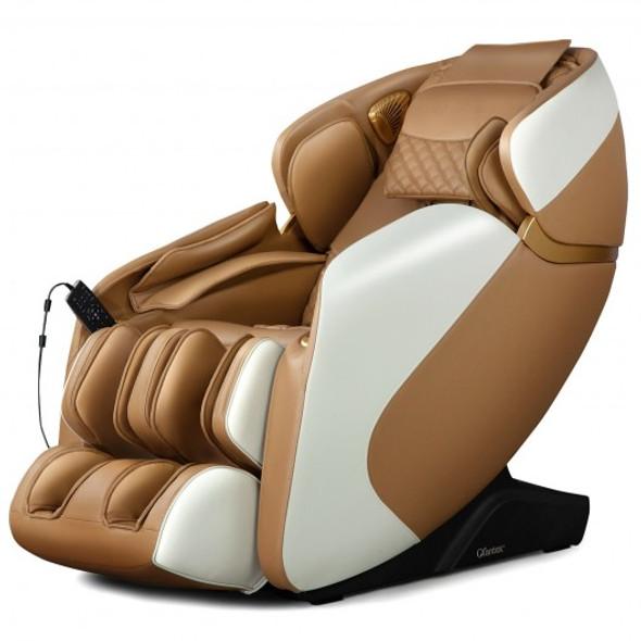 Full Body Zero Gravity Massage Chair Recliner with SL Track Bluetooth Heat-Coffee