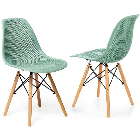 2 Pcs Modern Plastic Hollow Chair Set with Wood Leg-Green