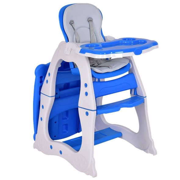 3 in 1 Infant Table and Chair Set Baby High Chair-Blue