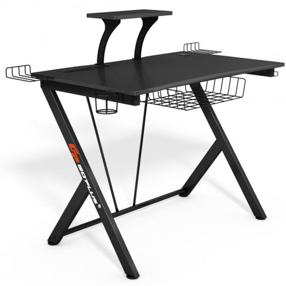 Multifunctional K-Shaped Gamer Desk with Display Support Plate - COHW66284
