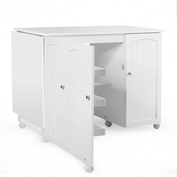 Folding Sewing Table Shelves Storage Cabinet Craft Cart with Wheels-White - COHW66623WH