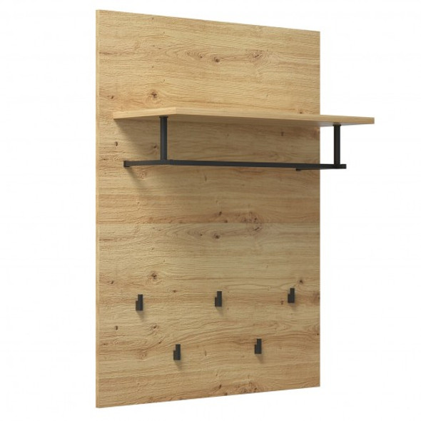 Wall-Mounted Clothes Hanger Rack Shelf with 5 Hooks and Hanging Rod